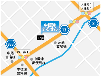 日専連中標津へのアクセスマップ